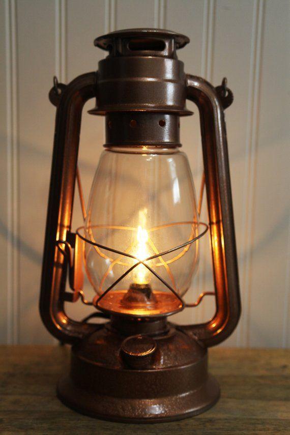 Electric Lantern Table Lamp Copper Finish Dimmer Switch Etsy Lantern Table Lamp Lamp Electric Lanterns