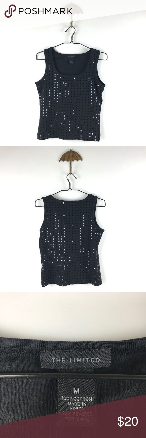 "The Limited polka dot Cropped tank Sz M 548 The Limited Cropped Polka Dot Wide Strap Tank Black Women's Size Medium  Measurements: Bust:   16"" Flat Across has some stretch Length:  20"" Long  In good preowned condition with no known flaws and light overall wear. The Limited Tops Tank Tops"