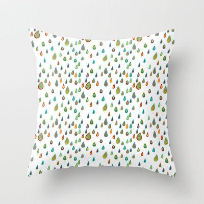 Colorful raindrops. Digital. Traced from vector.  Throw Pillow by Kira Sokolovskaya - $20.00