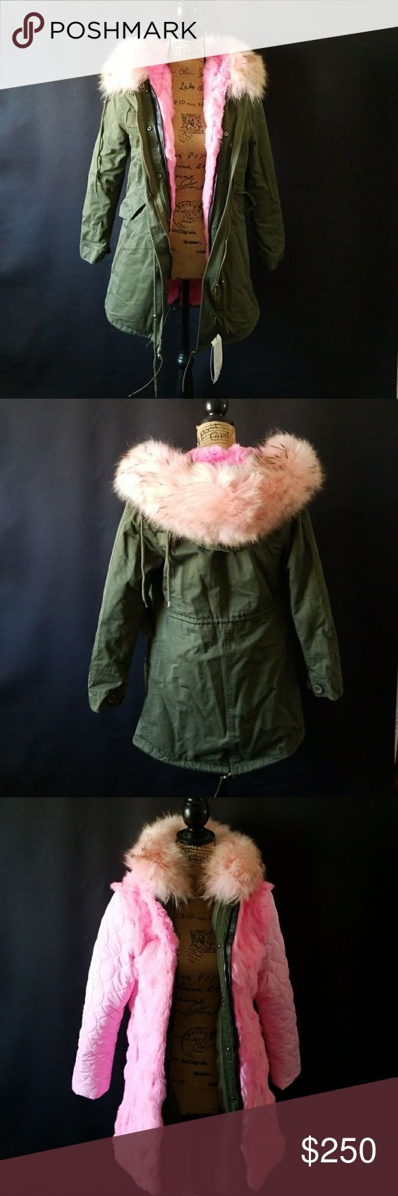 Pink and olive fur long parka coat Brand new with tags fox and rabbit fur large hood parka. The hood fur as well as the inner lining of the cost an be removed. Inner lining and jacket can both be worn separately if desired. Jackets & Coats