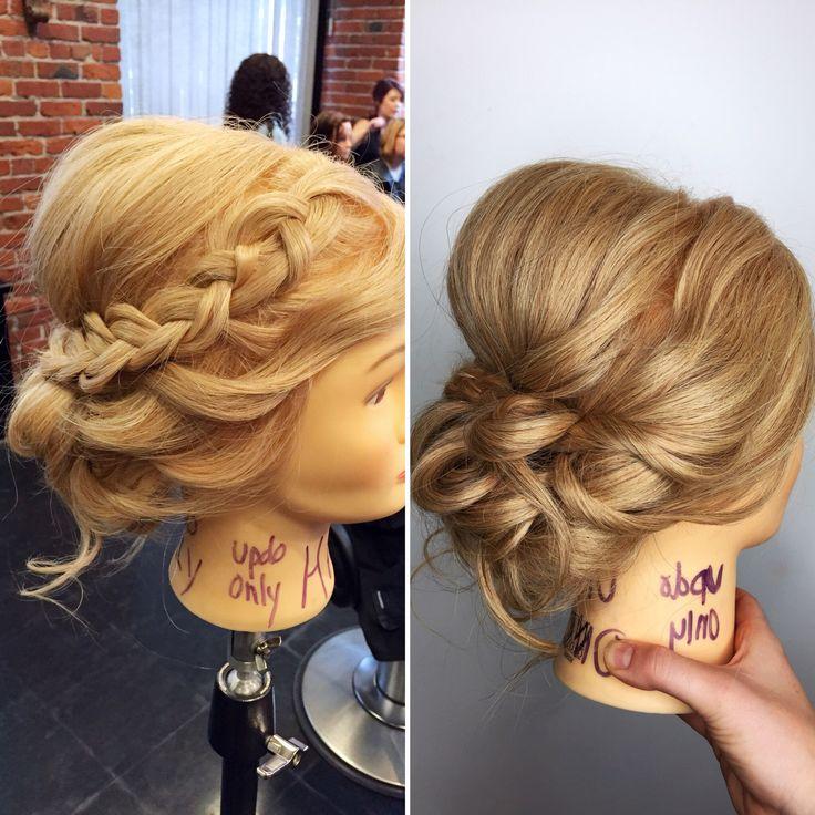 Bridal updo. Dutch braid into updo