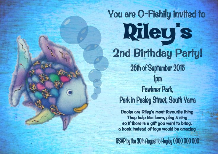Rainbow Fish Invitation $12AUD emailed to you - you print and frame PAYPAL ACCEPTED!  Order here  www.facebook.com/readyforprint