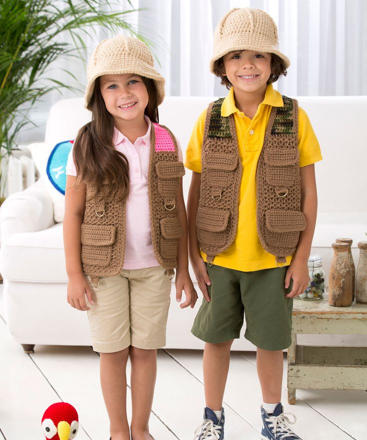 Safari vest and hat to crochet - free pattern from Red Heart