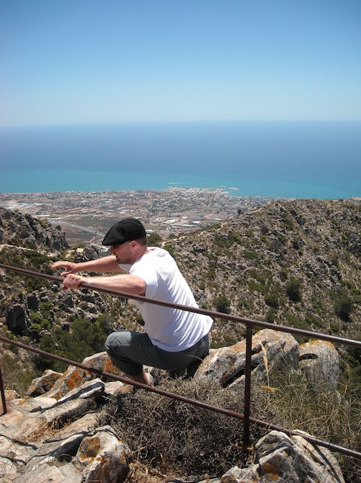 In Benalmadena on mountain. Coming back to right side of railing, also the story of my christian life...