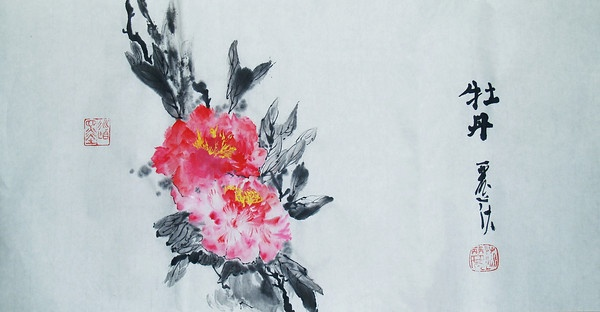 Mudan: Tree Peonies. Chinese #ink and #watercolor on xuan paper by Lisa Chakrabarti