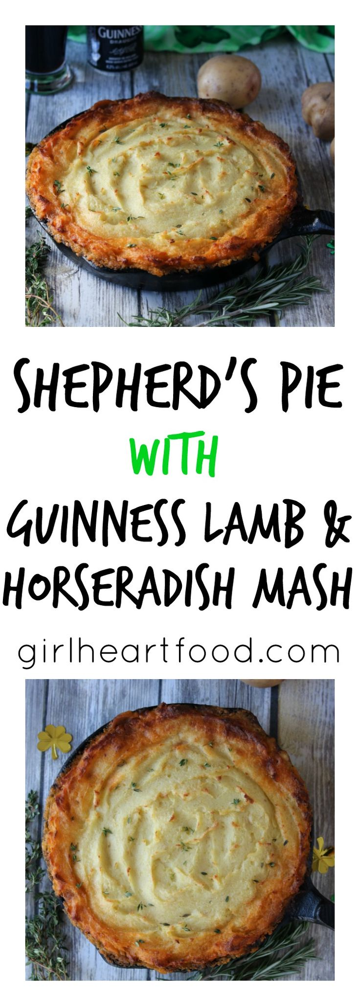 Shepherd's Pie with Guinness Lamb and Horseradish Mash Ground lamb is flavoured with Guinness beer and herbs like rosemary and thyme and topped with creamy, dreamy horseradish mashed potatoes to make this super comforting, stick-to-ya-ribs Shepherd's Pie. Can't get much better than that! Just don't forget to save some Guinness to drink alongside! Hello, you …