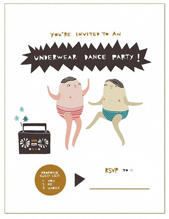 Underwear Dance Party greeting card    This is a blank notecard & matching envelope with my original illustration printed on the front, measuring