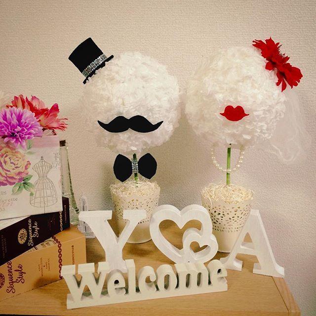 ちまちま作ってたぺパナプトピアリーが完成しました(♡´▽`♡) うん!かわいい!! * 我が家は逆身長夫婦なので、brideちゃんの方がちょっと背が高め( ̄ー ̄) * ベールは三角コーナーに被せるネットです(笑)ゴミ袋からの昇格✨ * * #ちーむ1105 #2016秋婚 #日本中のプレ花嫁さんと繋がりたい #プレ花嫁 #北九州花嫁 #福岡花嫁  #花嫁DIY #プレ花嫁DIY #tg花嫁 #年下旦那 #marry花嫁 #marryxoxo #ウエディングニュース #ウェルカムスペース #ぺパナプ #トピアリー