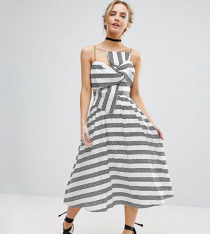 Asos Stripe Bow Midi Dress