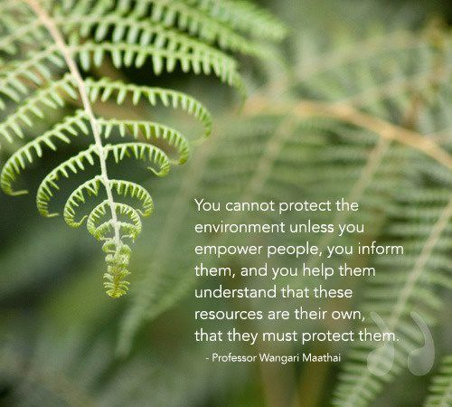 "Environmental education - ""You cannot protect the environment unless you empower people, you inform them, and you help them understand that these resources are their own, that they must protect them."""