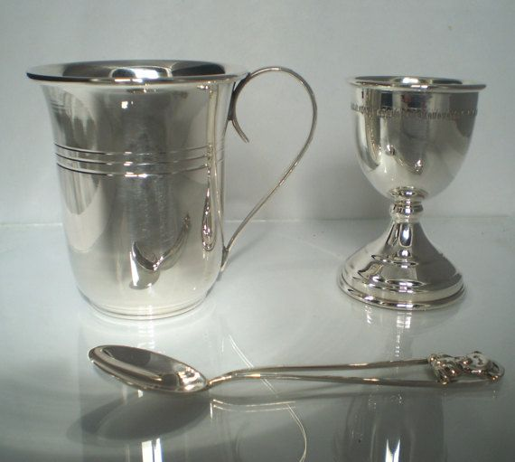 Sterling Silver 925 Baby Gift Set Egg Cup Spoon by SilverArtGifts