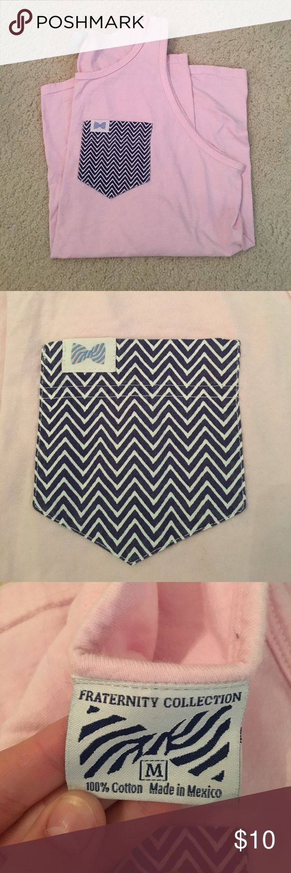 Fraternity collection pink tank It's pink with a Navy patterned pocket. Size medium (unisex) size medium fraternity collection Shirts Tank Tops