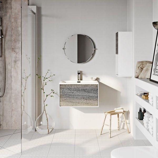 Wall Hung Vanity Unit And Basin 600mm, Mode Burton White Wall Hung Vanity Unit And Basin 600mm