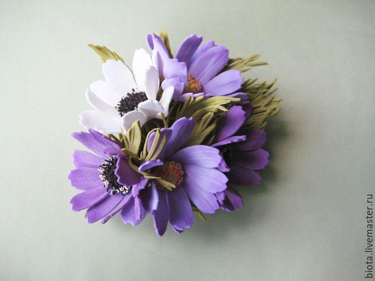 Купить Брошь и заколка с цветами. Комплект украшений из фоамирана - сиреневый, лавандовый, украшения с цветами