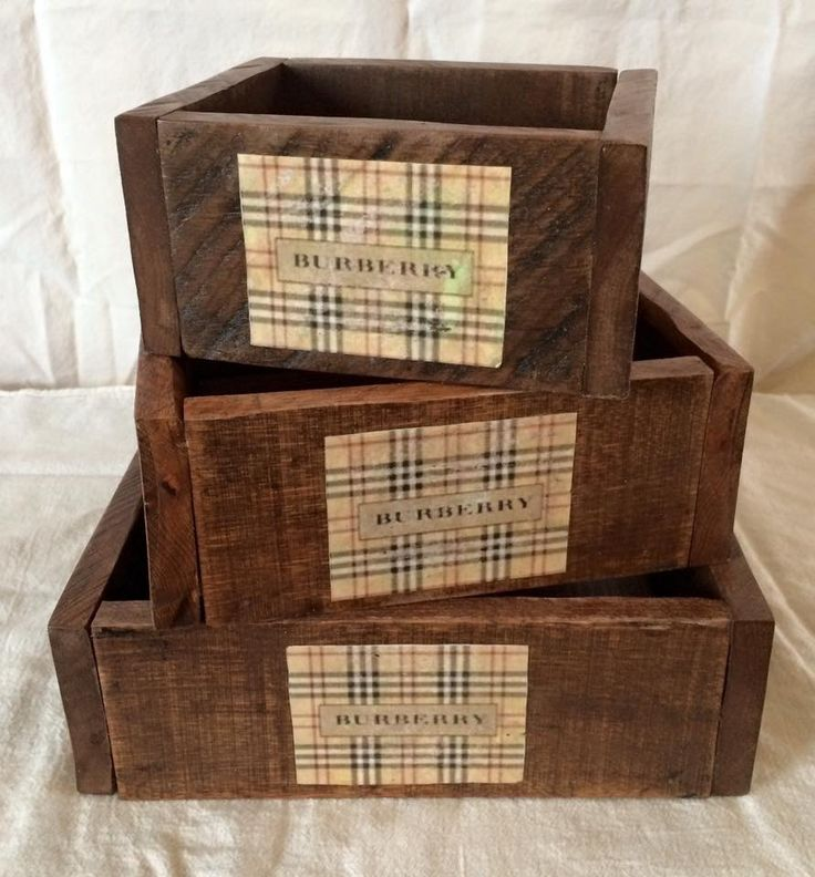 Burberry inspired handmade, solid wood set of three stackable perfume/makeup boxes. Custom made by Belle Furnishings Home Decor home based business.