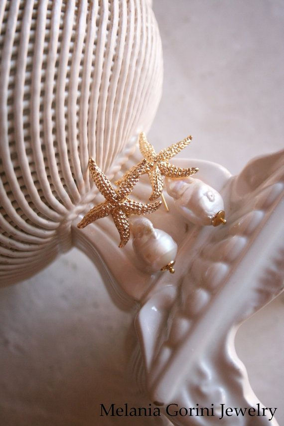 Vermeil 925 Sterling silver earrings with starfish and baroque pearls by MelaniaGoriniJewelry