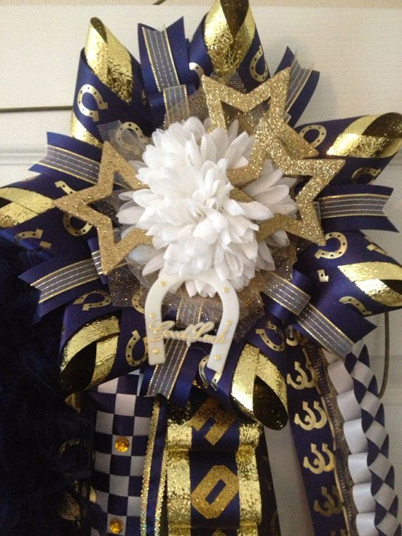 Homecoming Mum - Navy Gold-Ready To Ship on Etsy, $95.00