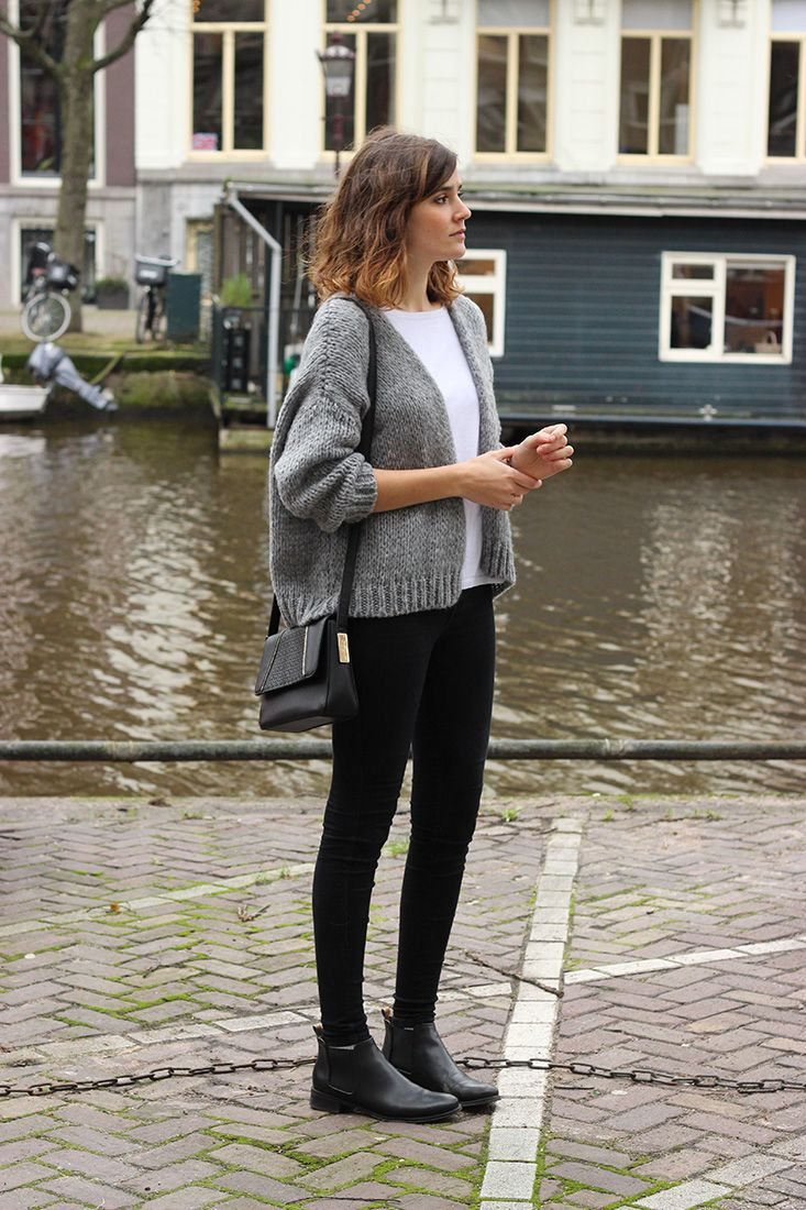 Cropped chunky cardigan, jeggings and boots. // December & June « Mango and Salt