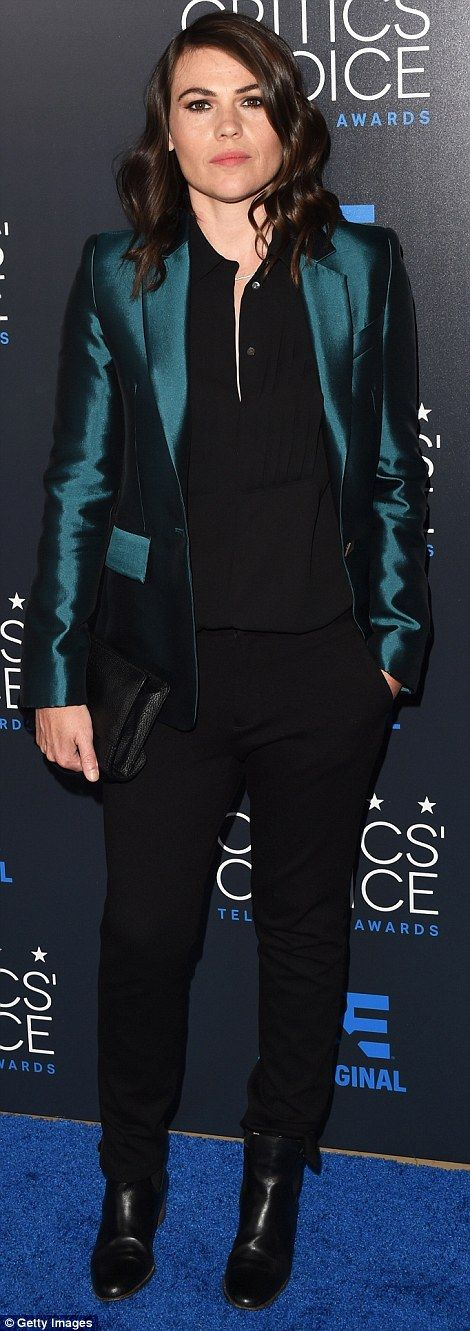 Menswear inspired: Clea DuVall andGaby Hoffman opted for androgynous trousers...