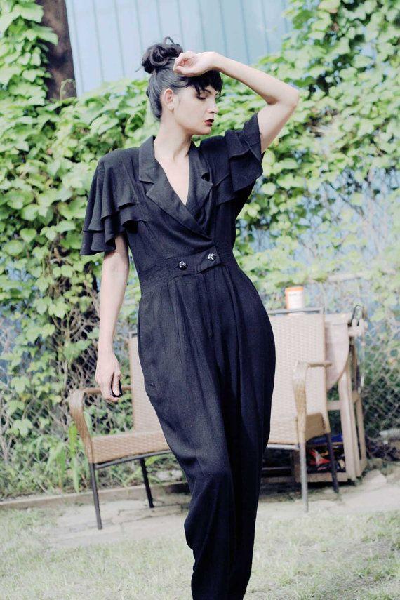 Womens 80s Vintage Monochrome/Black Cape Jumpsuit/Playsuit