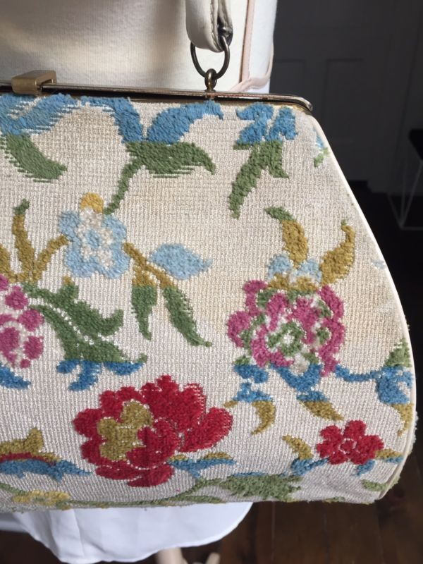 Vintage Floral Carpet Bag Cream Tapestry Midcentury Mad Men Purse 50s Handbag