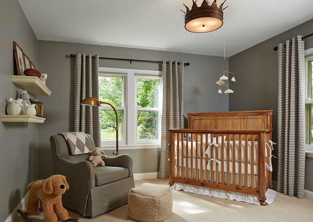 Gray Boyu0027s Nursery Features Walls Painted Gray Lined With A Caddy Corner  Crib By Restoration Hardware Baby