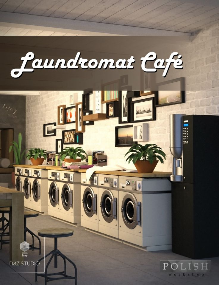 Laundromat Cafe Is A Interior Scene For Daz Studio Or Poser Created By Polish