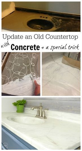 No - it's not paint! Can you believe it cost less than $50 to update this old countertop? It's easy and uses something other than paint or stain to lighten up the color of the concrete.