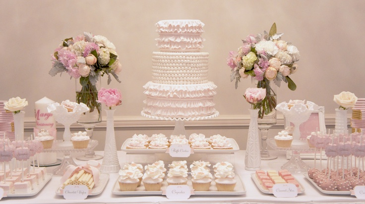 Pink and ivory dessert table styled by my little jedi a for Table 52 dessert