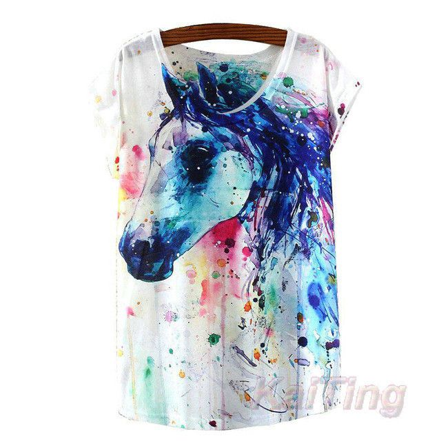 New Fashion Vintage Summer T Shirt Women Clothing Tops Animal Owl Cat Print T-shirt White Clothes