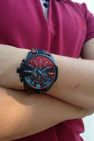 Diesel mens orange dial leather analog Chronograph quartz watches DZ4305 #Diesel #Watches #wristwatch