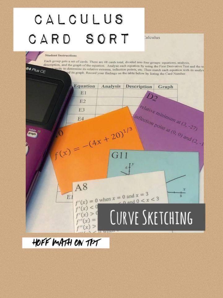 Curve Sketching using Calculus CARD SORT [Video] | Calculus. Ap calculus. Sorting activities