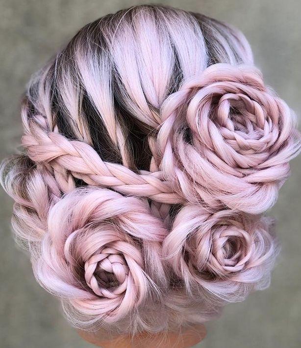 Die Frisur des Frühlings: Rose-Zöpfe