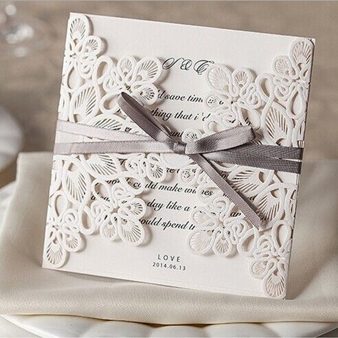 affordable exquiste laser cut grey ribbon wedding invitation kits EWWS008 as low as $2.09