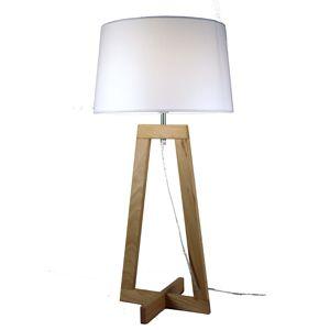 Lampe design et contemporaine, originale par la forme en croix du trépied. Composée d'une structure en bois de hêtre et d'un abat-jour en chintz. Une création Aluminor.