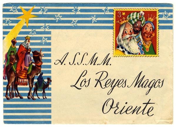 Años 70 - Sobre original típico para una carta a los Reyes Magos de Oriente