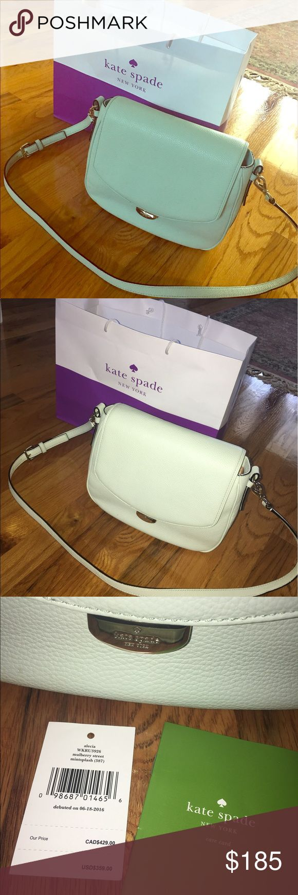 NWT Kate Spade Alecia in mintsplash Brand new with tags Kate Spade Alecia. 11 in wide X 7 in tall X 3 in deep. Mulberry street collection leather. Has handle and adjustable shoulder strap. Beautiful beige interior with zip pocket and two slot pockets. Beautiful purse, I'm just partial to the small rachelle style. REASONABLE offers accepted 😊 kate spade Bags