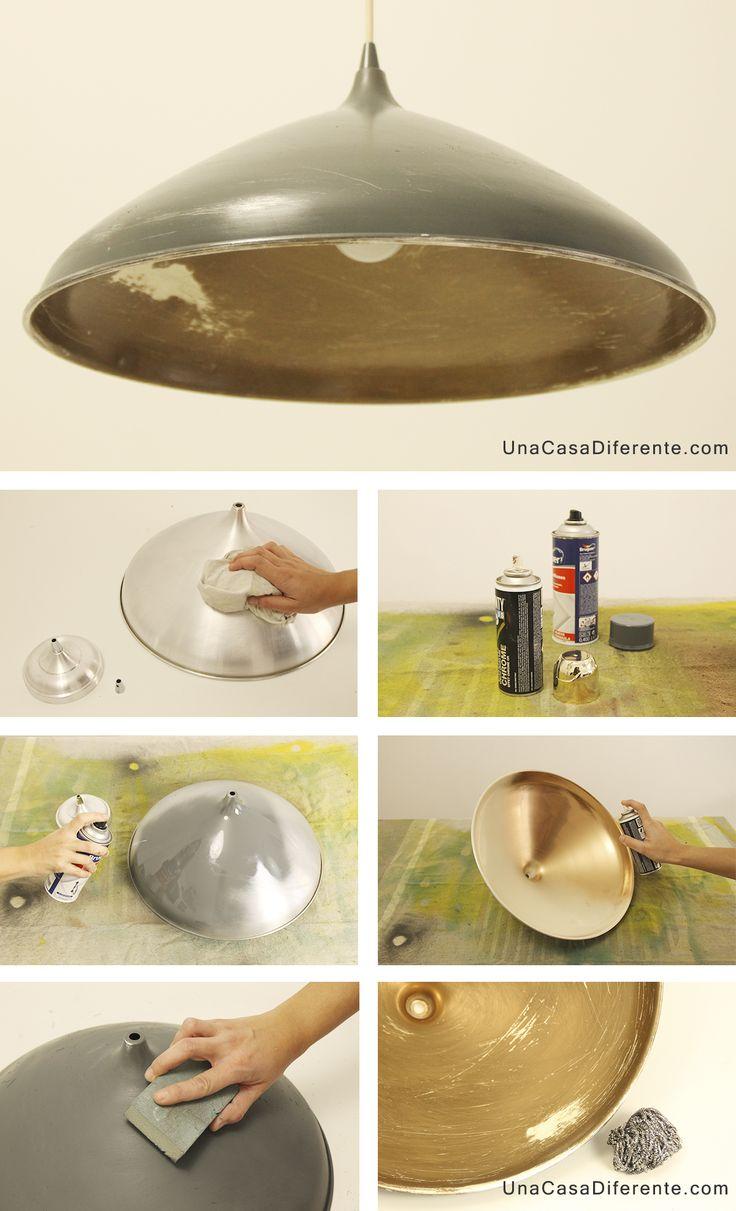 Como pintar lampara de metal spray diy lamp
