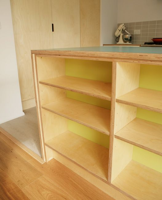 Bespoke birch ply formica shelves by matt antrobus for Birch veneer kitchen cabinets