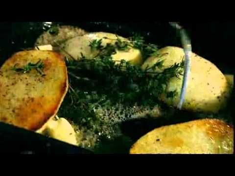 Gordon Ramsay - How to make fondant potatoes - uses a roasting tray as a pan from stove to the oven, veggie