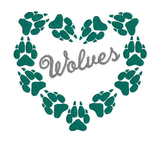 Wolf Paw Print Heart Embroidery Design 2x3 4x4