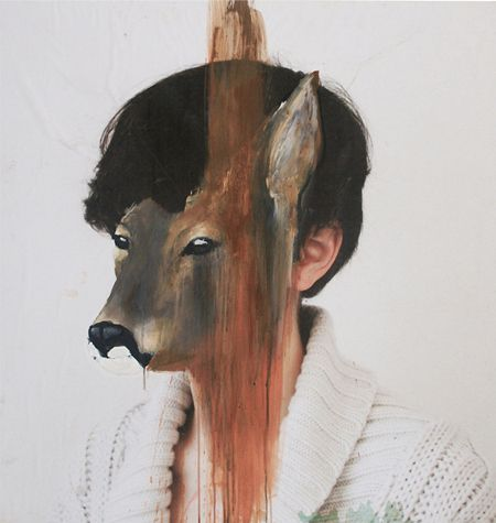 These amazing painted animal masks on photographic portraits are the work of French artist Charlotte Caron #theJealousCuratorDotCom