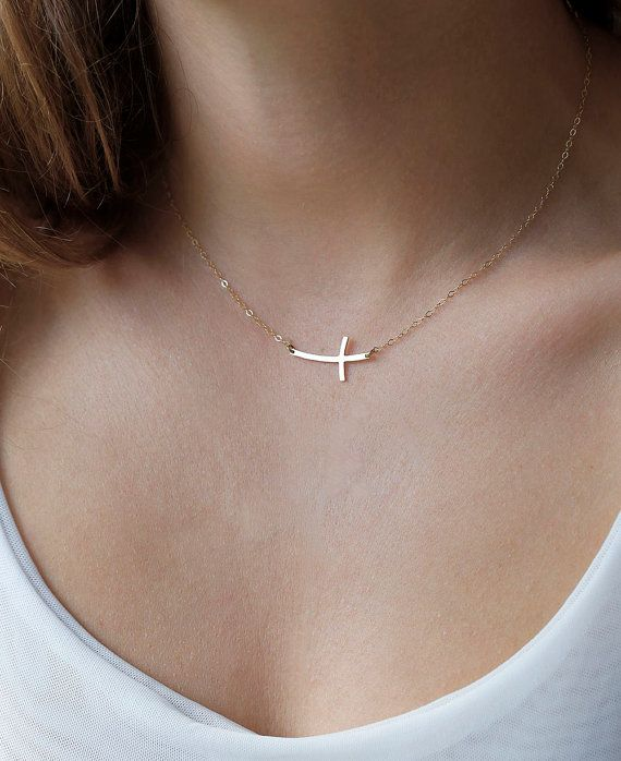 Someone could gift this to me . . . Hint hint . . . 14k Gold Curved Cross Necklace, Thin Cross Necklace, Skinny Cross Necklace, sideways Cross Necklace