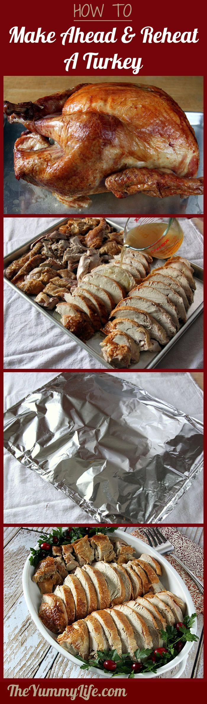 How to Make Ahead and Reheat Turkey. A holiday meal stress buster! Simple steps to cooking and carving the turkey ahead of time and reheating it to moist perfection. from The Yummy Life