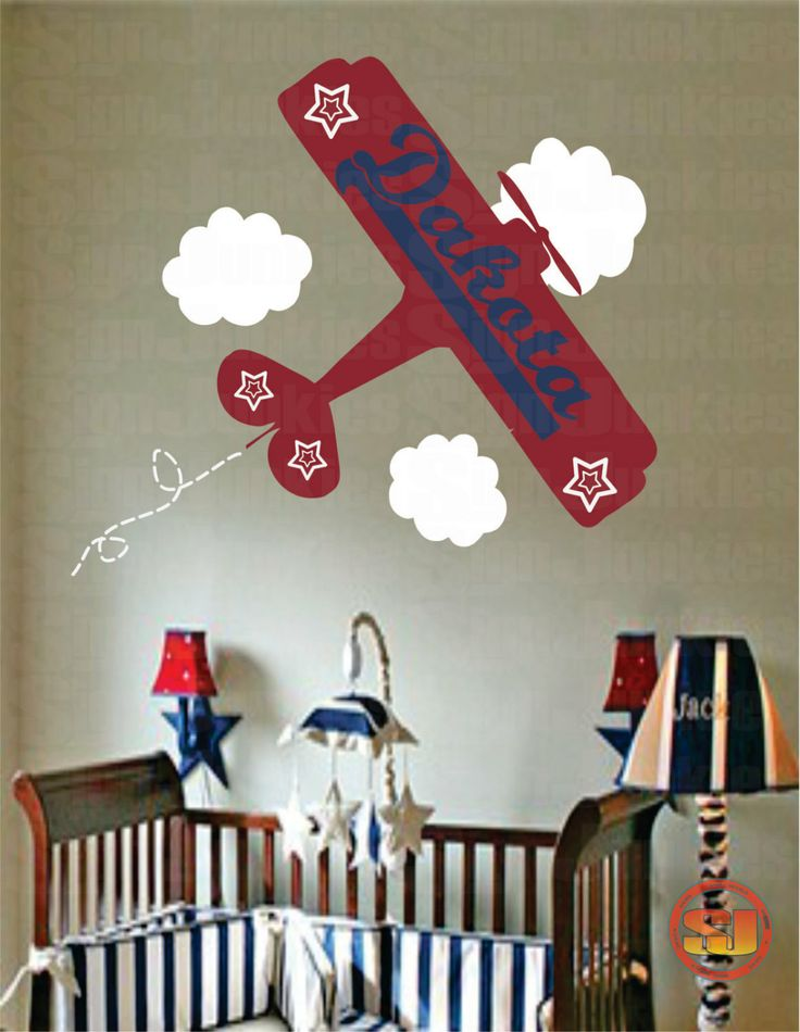 Airplane Name Decal - Vinyl Airplane Wall Decal for Boy or Girl -Nursery Decal Plane 22H x 32W. $43.95, via Etsy.