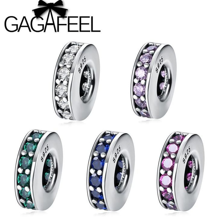 GAGAFEEL 5 Color Bling Crystal Charm Beads Fit Pandora Original Bracelet Bangle Pure 925 Sterling Silver DIY Beads Women Jewelry