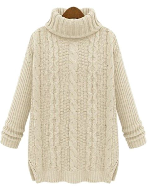Apricot High Neck Long Sleeve Cable Knit Sweater US$32.46