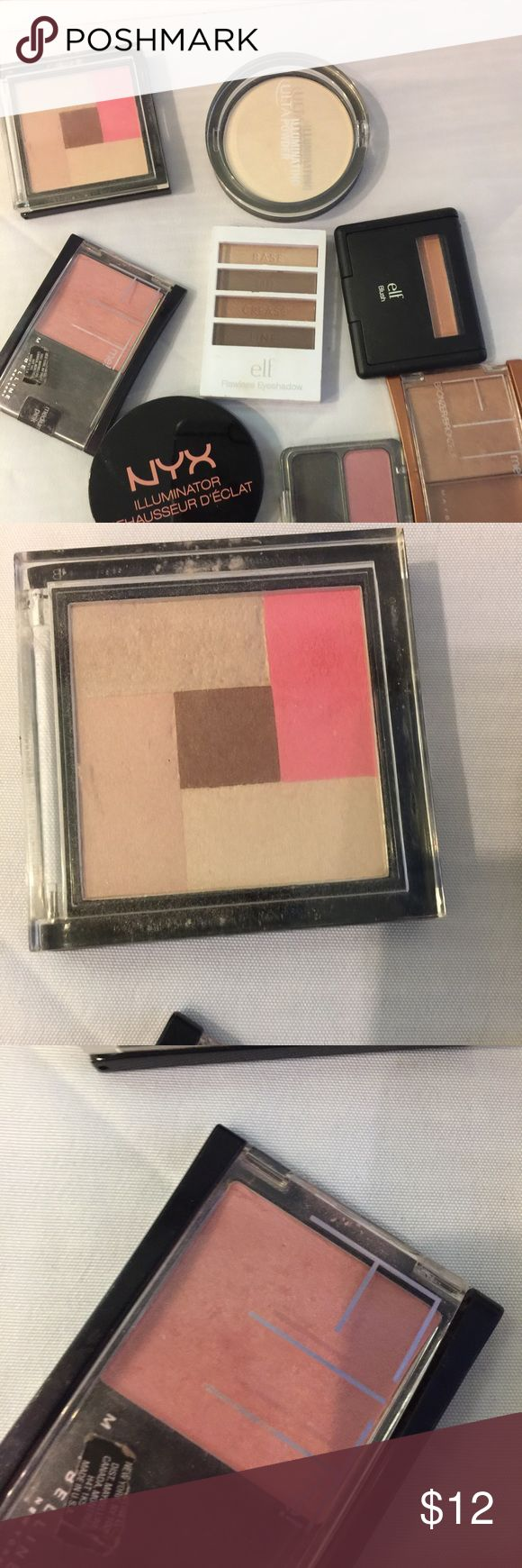 8 piece makeup bundle 8 piece bundle. Like new swatched either once or twice with a sponge NO fingers. No trades. No returns. Set includes:NYX highlighter in Ritualistic , covergirl blush in Rubor, maybelline bronzer in deep bronze Elf blush in candid coral. Maybelline blush in medium pink, Palladio blush and highlight in Fairy Pink Elf flawless eyeshadow in Beautiful browns( brand new) Ulta illuminating powder in yellow diamond (like new) price Firm. First pic is blush in bundle :maybelline…