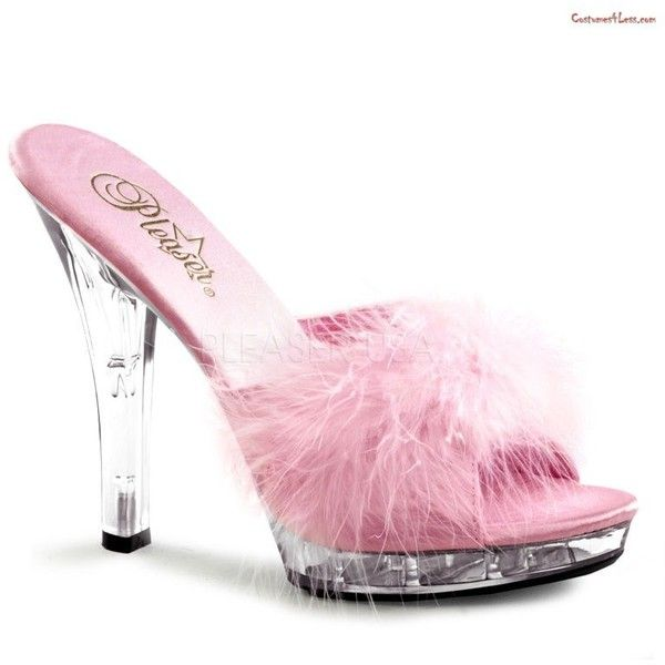 """Lip-101-8, 5"""" Stiletto Heel Platform Marabou Slipper ($10) ❤ liked on Polyvore featuring shoes and slippers"""