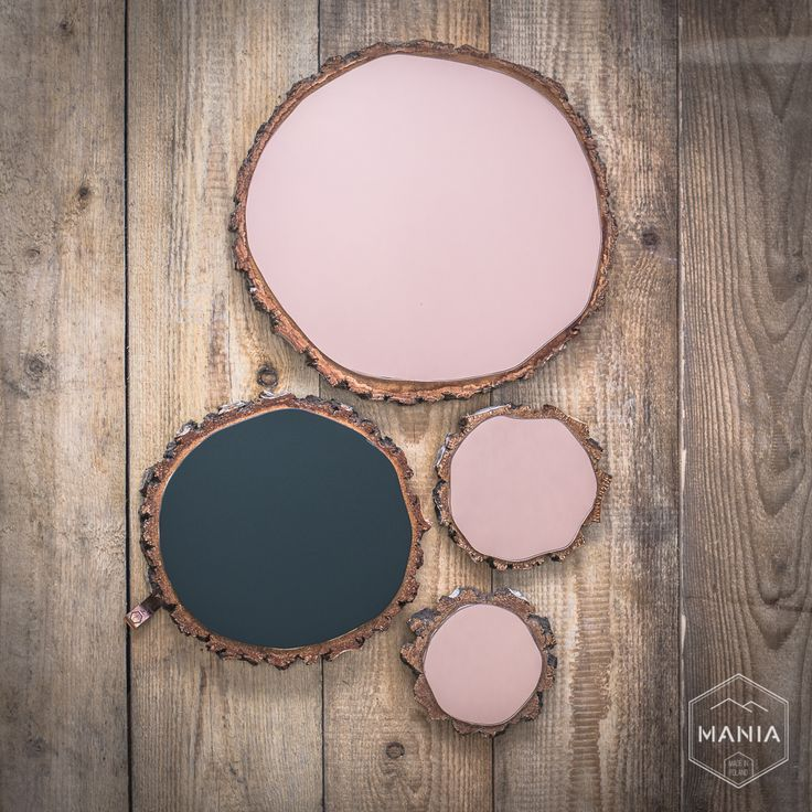 Coposotion of mirrors put on wood slices. Great fusion with natural shapes of wood.  #cooper #wood #black #mirror #slices